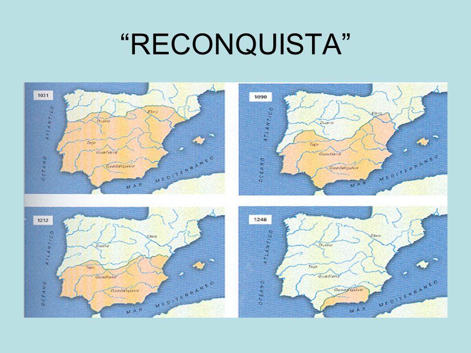 Alta edad Media: Punto de partida Reinos Cristianos: –Reino Asturias: Covadonga 722: origen de reino de León y de Castilla