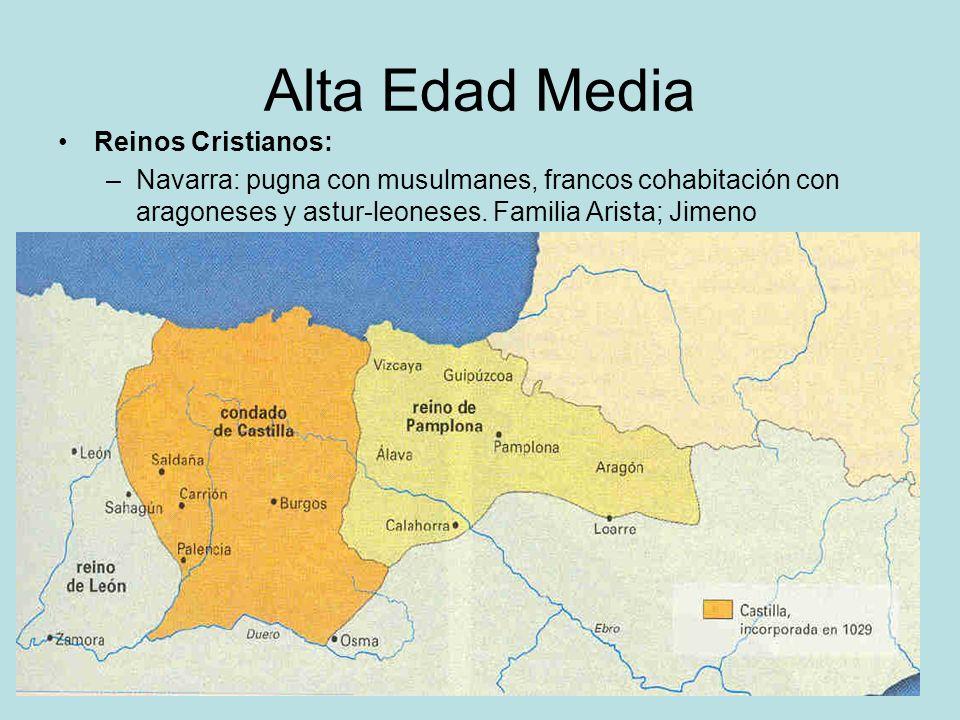 Alta Edad Media Reinos Cristianos: –Navarra: pugna con musulmanes, francos cohabitación con aragoneses y astur-leoneses. Familia Arista; Jimeno