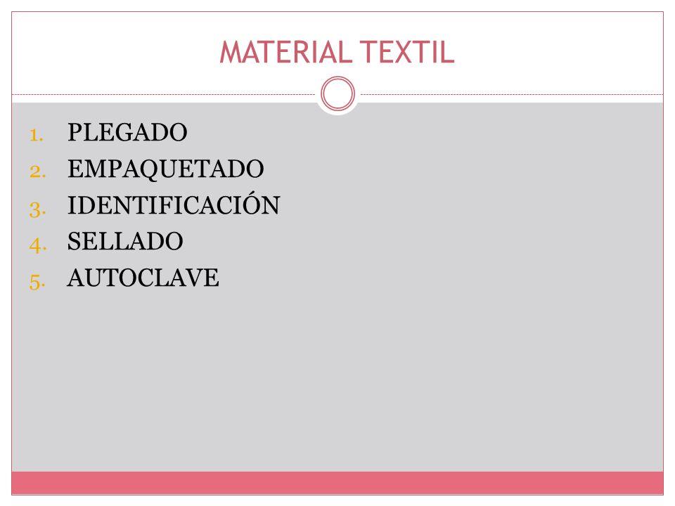 MATERIAL TEXTIL 1. PLEGADO 2. EMPAQUETADO 3. IDENTIFICACIÓN 4. SELLADO 5. AUTOCLAVE