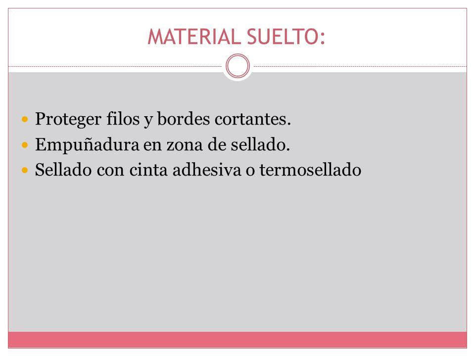 MATERIAL SUELTO: Proteger filos y bordes cortantes. Empuñadura en zona de sellado. Sellado con cinta adhesiva o termosellado