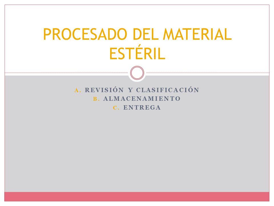 A. REVISIÓN Y CLASIFICACIÓN B. ALMACENAMIENTO C. ENTREGA PROCESADO DEL MATERIAL ESTÉRIL