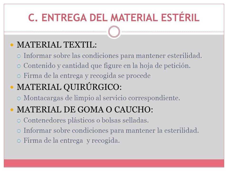C. ENTREGA DEL MATERIAL ESTÉRIL MATERIAL TEXTIL: Informar sobre las condiciones para mantener esterilidad. Contenido y cantidad que figure en la hoja