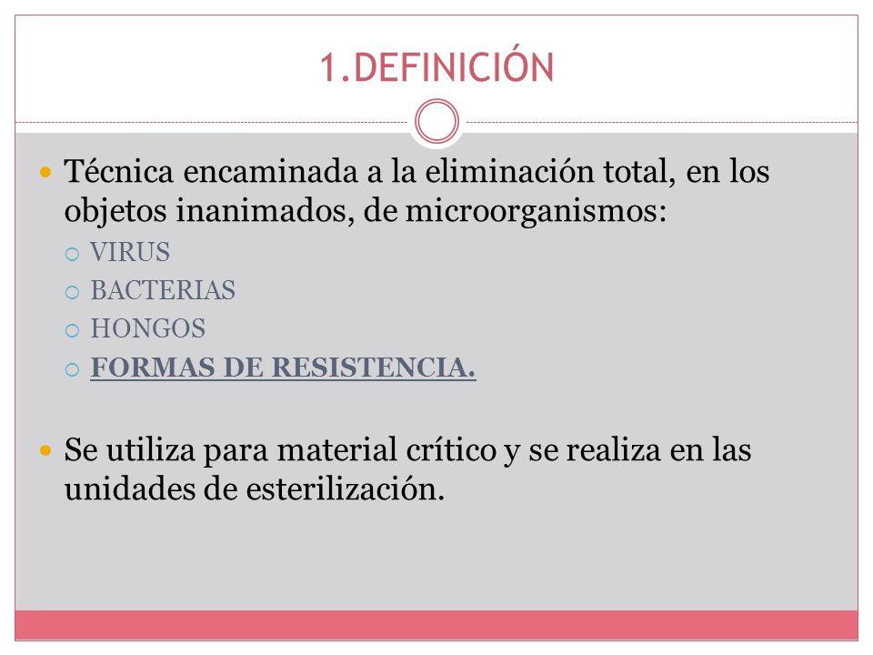 1.DEFINICIÓN Técnica encaminada a la eliminación total, en los objetos inanimados, de microorganismos: VIRUS BACTERIAS HONGOS FORMAS DE RESISTENCIA. S