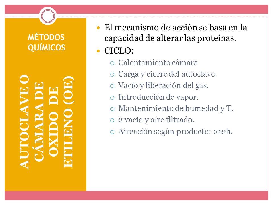 MÉTODOS QUÍMICOS AUTOCLAVE O CÁMARA DE OXIDO DE ETILENO (OE) El mecanismo de acción se basa en la capacidad de alterar las proteínas. CICLO: Calentami