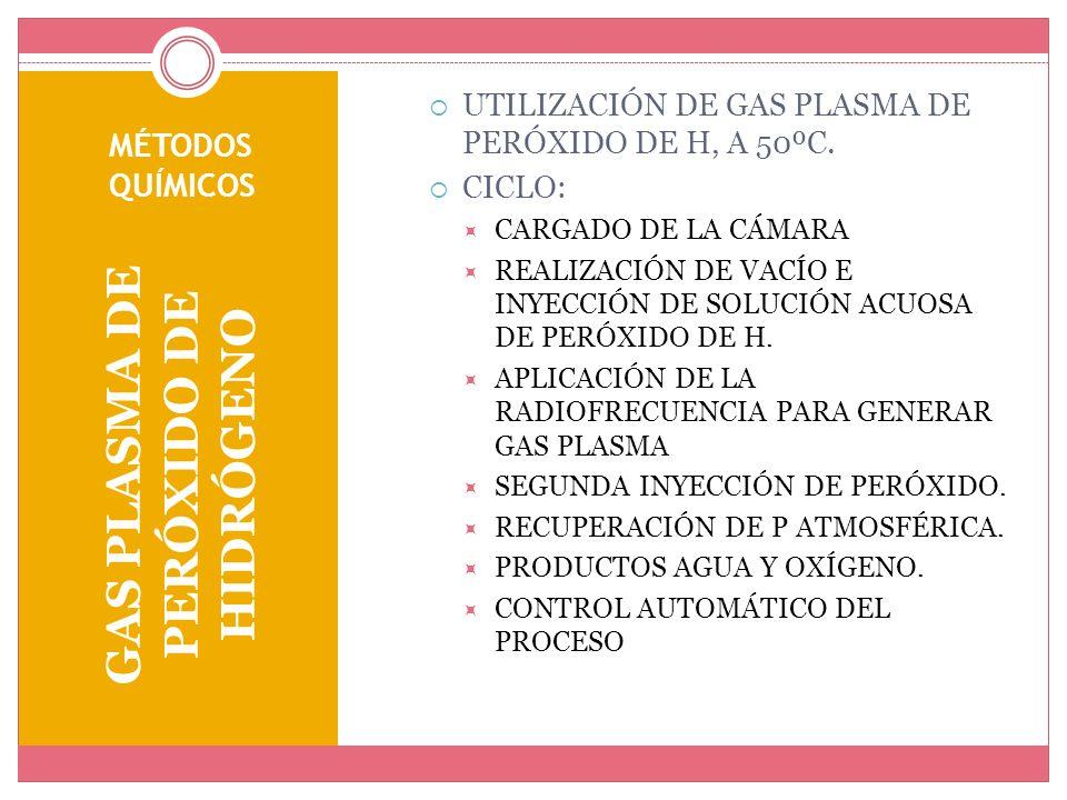 MÉTODOS QUÍMICOS GAS PLASMA DE PERÓXIDO DE HIDRÓGENO UTILIZACIÓN DE GAS PLASMA DE PERÓXIDO DE H, A 50ºC. CICLO: CARGADO DE LA CÁMARA REALIZACIÓN DE VA