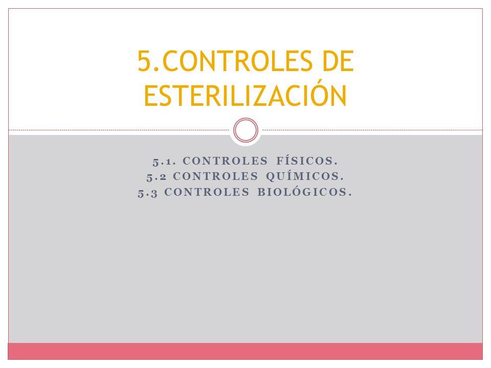 5.1. CONTROLES FÍSICOS. 5.2 CONTROLES QUÍMICOS. 5.3 CONTROLES BIOLÓGICOS. 5.CONTROLES DE ESTERILIZACIÓN