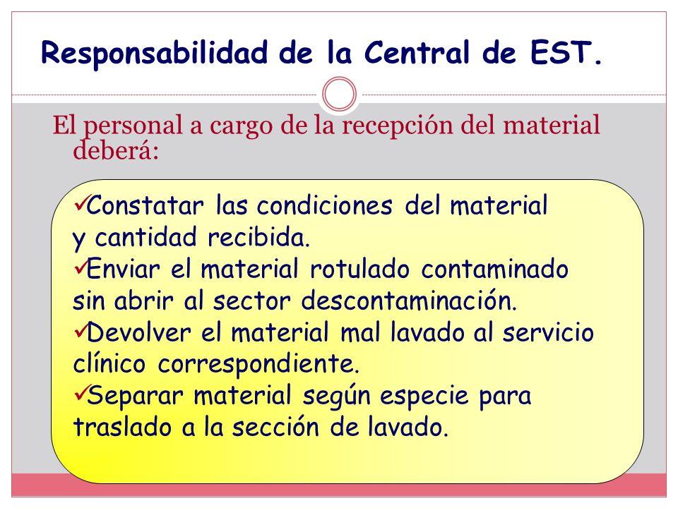 Responsabilidad de la Central de EST. El personal a cargo de la recepción del material deberá: Constatar las condiciones del material y cantidad recib