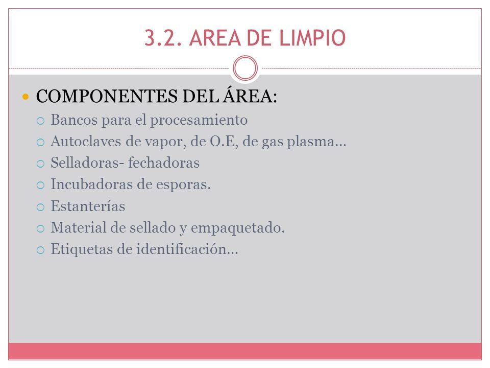 3.2. AREA DE LIMPIO COMPONENTES DEL ÁREA: Bancos para el procesamiento Autoclaves de vapor, de O.E, de gas plasma… Selladoras- fechadoras Incubadoras