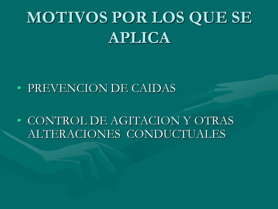 MOTIVOS POR LOS QUE SE APLICA PREVENCION DE CAIDASPREVENCION DE CAIDAS CONTROL DE AGITACION Y OTRAS ALTERACIONES CONDUCTUALESCONTROL DE AGITACION Y OT