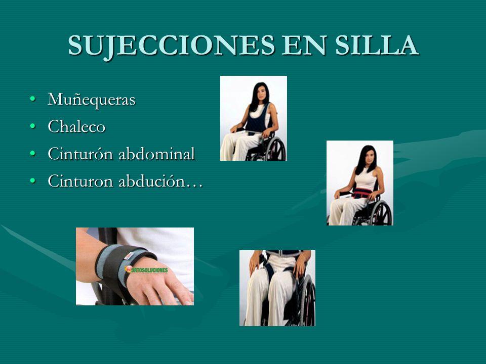 SUJECCIONES EN SILLA MuñequerasMuñequeras ChalecoChaleco Cinturón abdominalCinturón abdominal Cinturon abdución…Cinturon abdución…