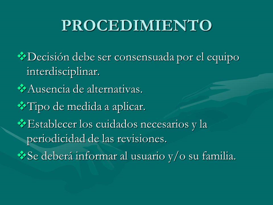 PROCEDIMIENTO Decisión debe ser consensuada por el equipo interdisciplinar. Decisión debe ser consensuada por el equipo interdisciplinar. Ausencia de