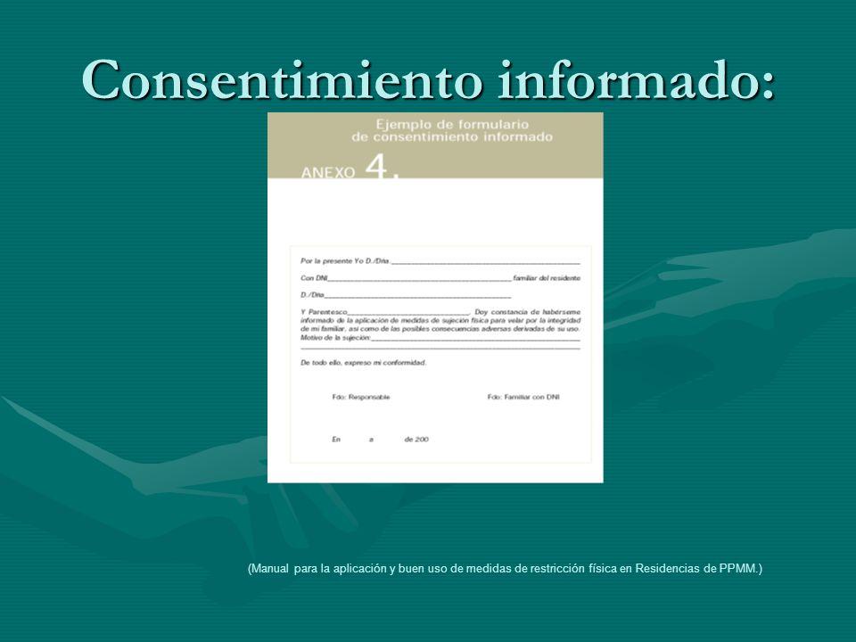 Consentimiento informado: (Manual para la aplicación y buen uso de medidas de restricción física en Residencias de PPMM.)
