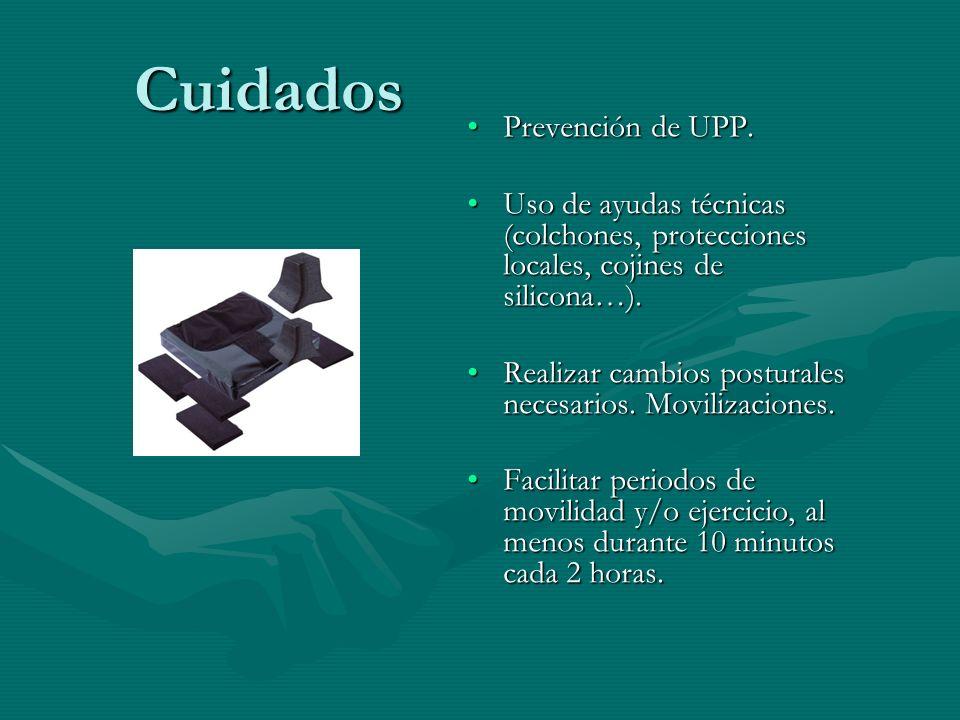 Cuidados Cuidados Prevención de UPP. Uso de ayudas técnicas (colchones, protecciones locales, cojines de silicona…). Realizar cambios posturales neces