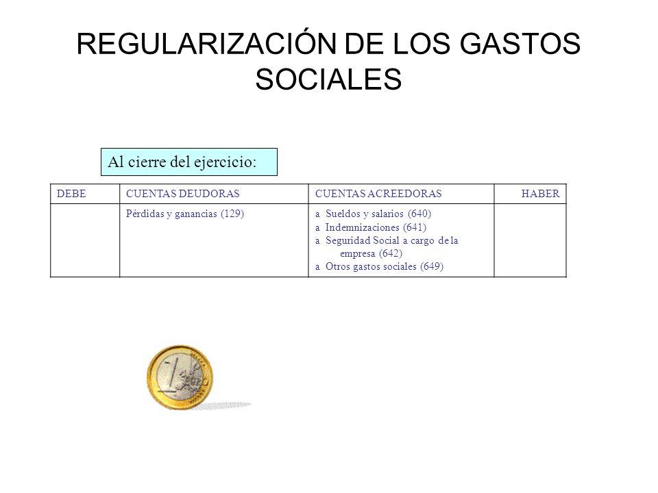 REGULARIZACIÓN DE LOS GASTOS SOCIALES DEBECUENTAS DEUDORASCUENTAS ACREEDORASHABER Pérdidas y ganancias (129)a Sueldos y salarios (640) a Indemnizacion