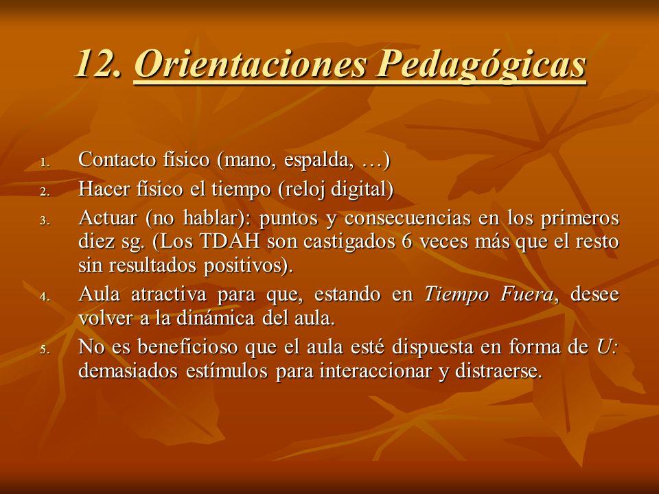 12.Orientaciones Pedagógicas 1. Contacto físico (mano, espalda, …) 2.