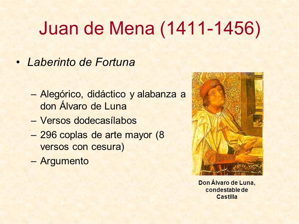 Juan de Mena (1411-1456) Laberinto de Fortuna –Alegórico, didáctico y alabanza a don Álvaro de Luna –Versos dodecasílabos –296 coplas de arte mayor (8