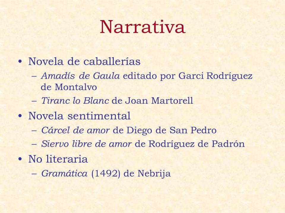 Narrativa Novela de caballerías – Amadís de Gaula editado por Garci Rodríguez de Montalvo – Tiranc lo Blanc de Joan Martorell Novela sentimental – Cár