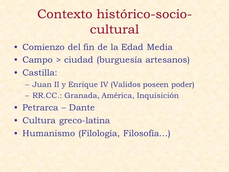 Contexto histórico-socio- cultural Comienzo del fin de la Edad Media Campo > ciudad (burguesía artesanos) Castilla: –Juan II y Enrique IV (Validos pos