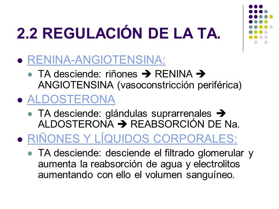 2.2 REGULACIÓN DE LA TA.