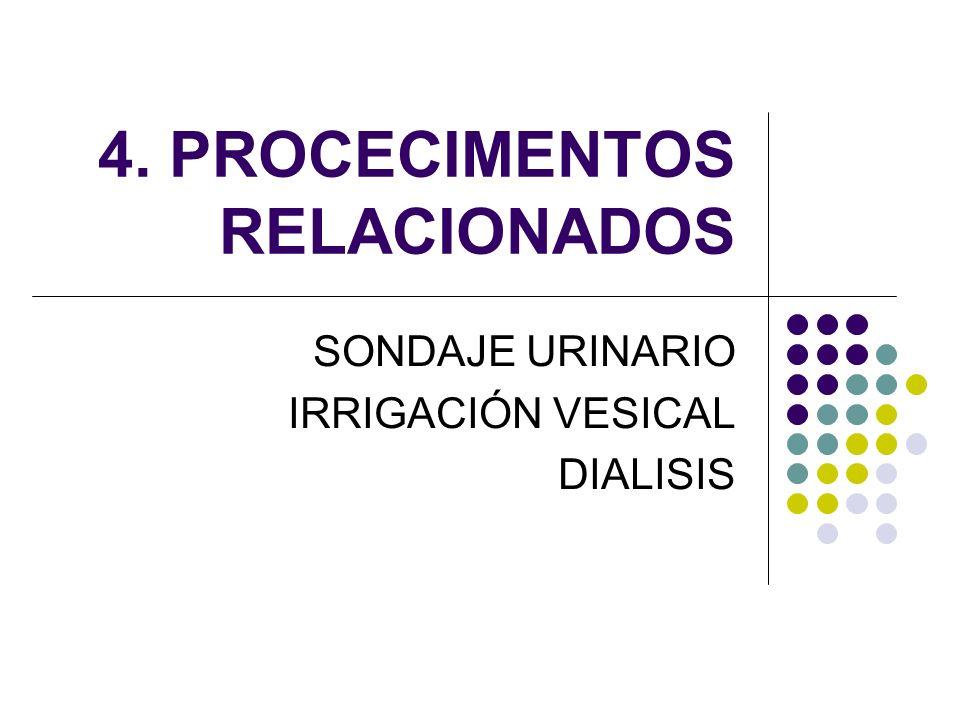 4. PROCECIMENTOS RELACIONADOS SONDAJE URINARIO IRRIGACIÓN VESICAL DIALISIS