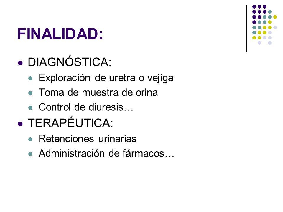 FINALIDAD: DIAGNÓSTICA: Exploración de uretra o vejiga Toma de muestra de orina Control de diuresis… TERAPÉUTICA: Retenciones urinarias Administración de fármacos…