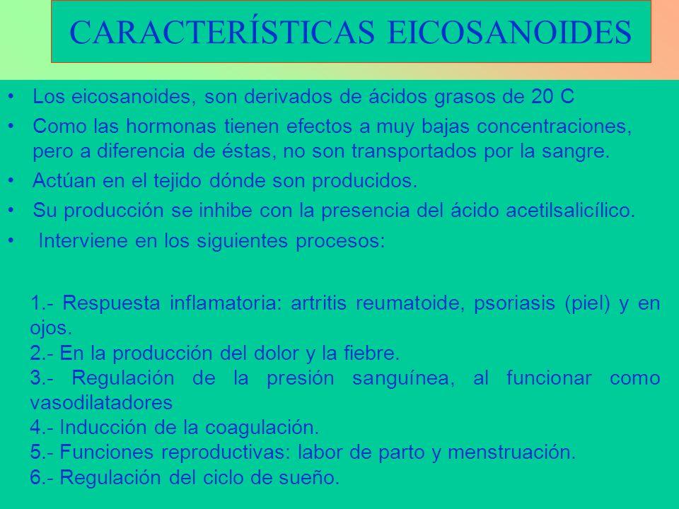 CARACTERÍSTICAS EICOSANOIDES Los eicosanoides, son derivados de ácidos grasos de 20 C Como las hormonas tienen efectos a muy bajas concentraciones, pe