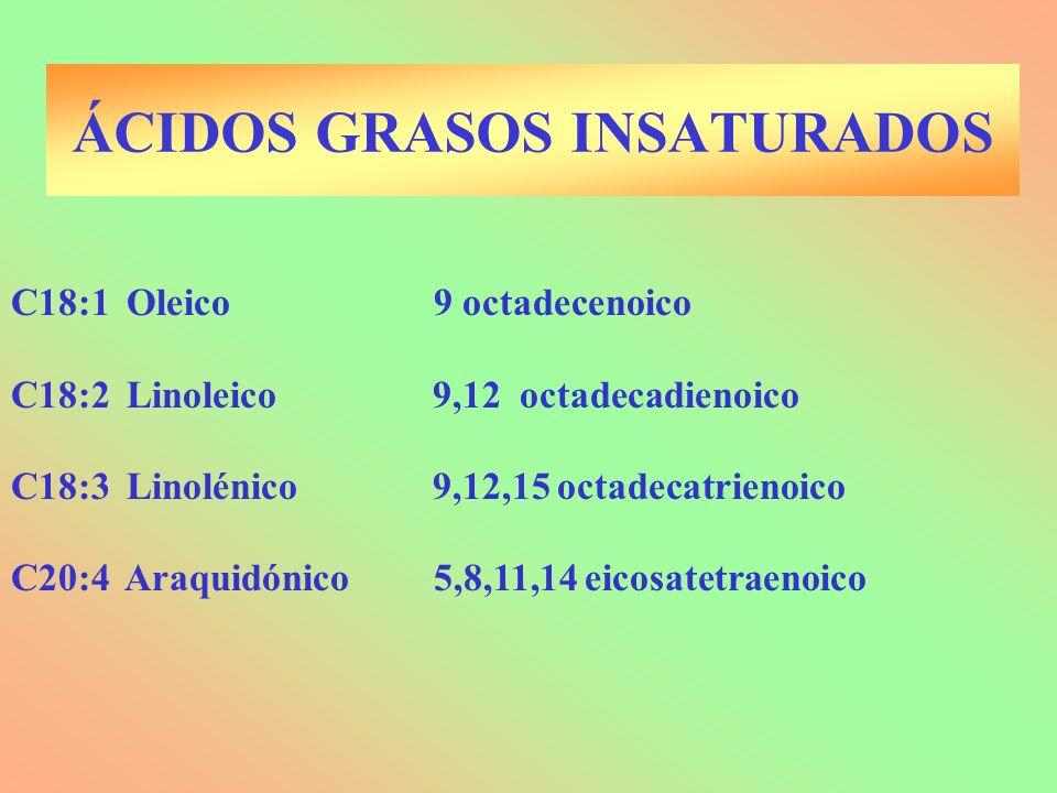 C18:1 Oleico9 octadecenoico C18:2 Linoleico 9,12 octadecadienoico C18:3 Linolénico 9,12,15 octadecatrienoico C20:4 Araquidónico5,8,11,14 eicosatetraen