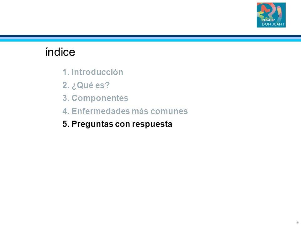 18 índice 1. Introducción 2. ¿Qué es? 3. Componentes 4. Enfermedades más comunes 5. Preguntas con respuesta