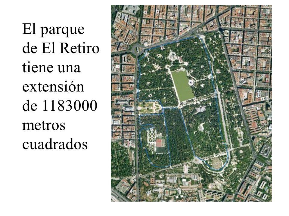 El parque de El Retiro tiene una extensión de 1183000 metros cuadrados