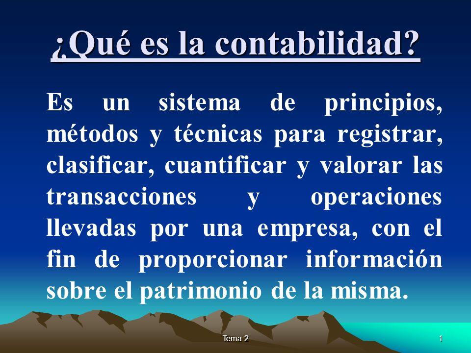 Tema 21 ¿Qué es la contabilidad? Es un sistema de principios, métodos y técnicas para registrar, clasificar, cuantificar y valorar las transacciones y
