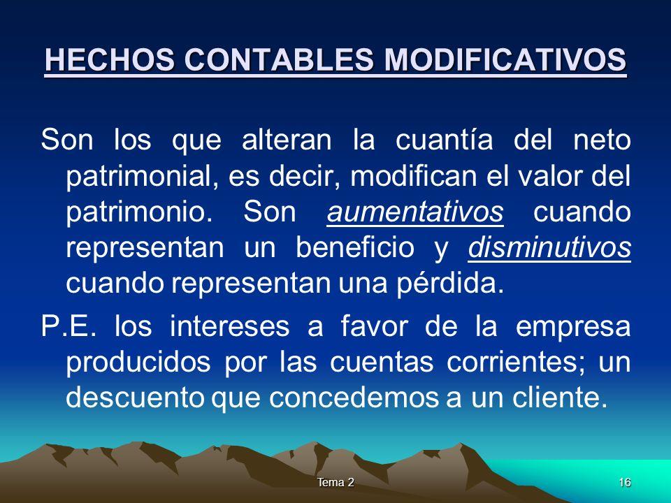 Tema 216 HECHOS CONTABLES MODIFICATIVOS Son los que alteran la cuantía del neto patrimonial, es decir, modifican el valor del patrimonio. Son aumentat