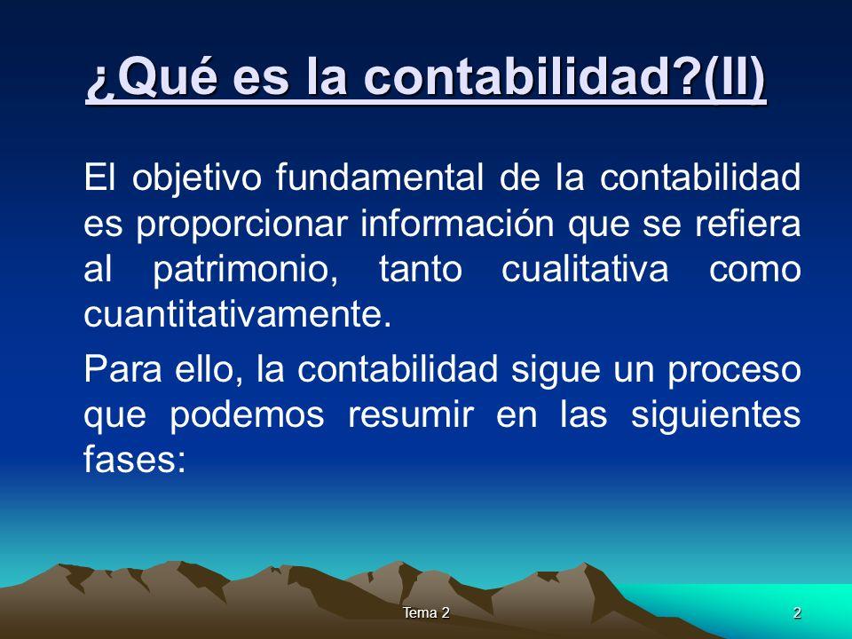Tema 22 ¿Qué es la contabilidad?(II) El objetivo fundamental de la contabilidad es proporcionar información que se refiera al patrimonio, tanto cualit