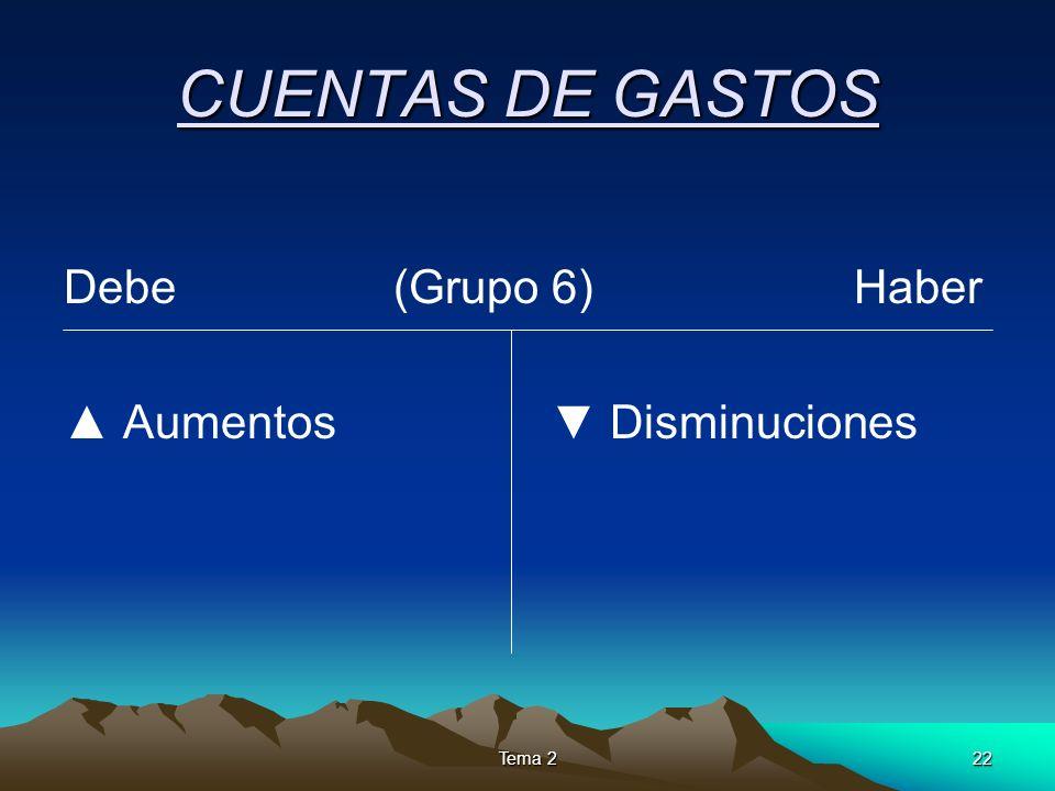 Tema 222 CUENTAS DE GASTOS Debe (Grupo 6) Haber Aumentos Disminuciones