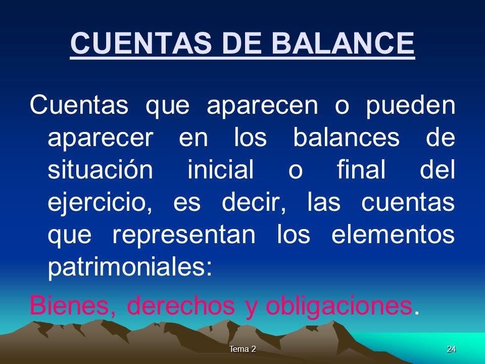 Tema 224 CUENTAS DE BALANCE Cuentas que aparecen o pueden aparecer en los balances de situación inicial o final del ejercicio, es decir, las cuentas q