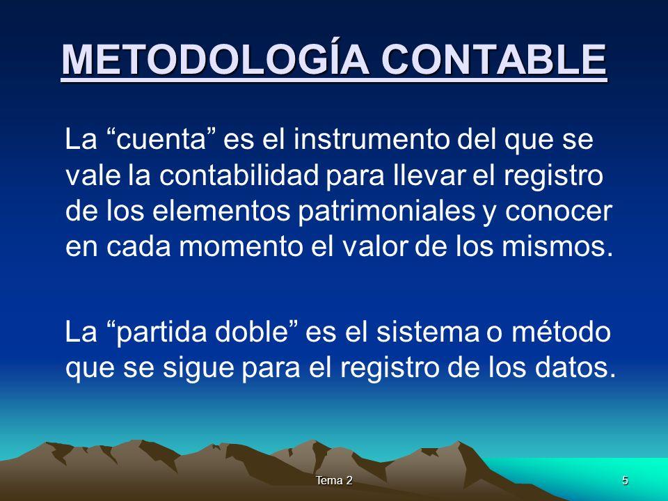 5 METODOLOGÍA CONTABLE La cuenta es el instrumento del que se vale la contabilidad para llevar el registro de los elementos patrimoniales y conocer en