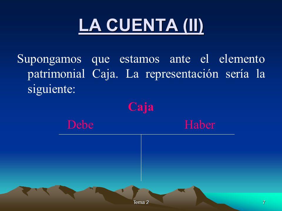 Tema 27 LA CUENTA (II) Supongamos que estamos ante el elemento patrimonial Caja. La representación sería la siguiente: Caja Debe Haber