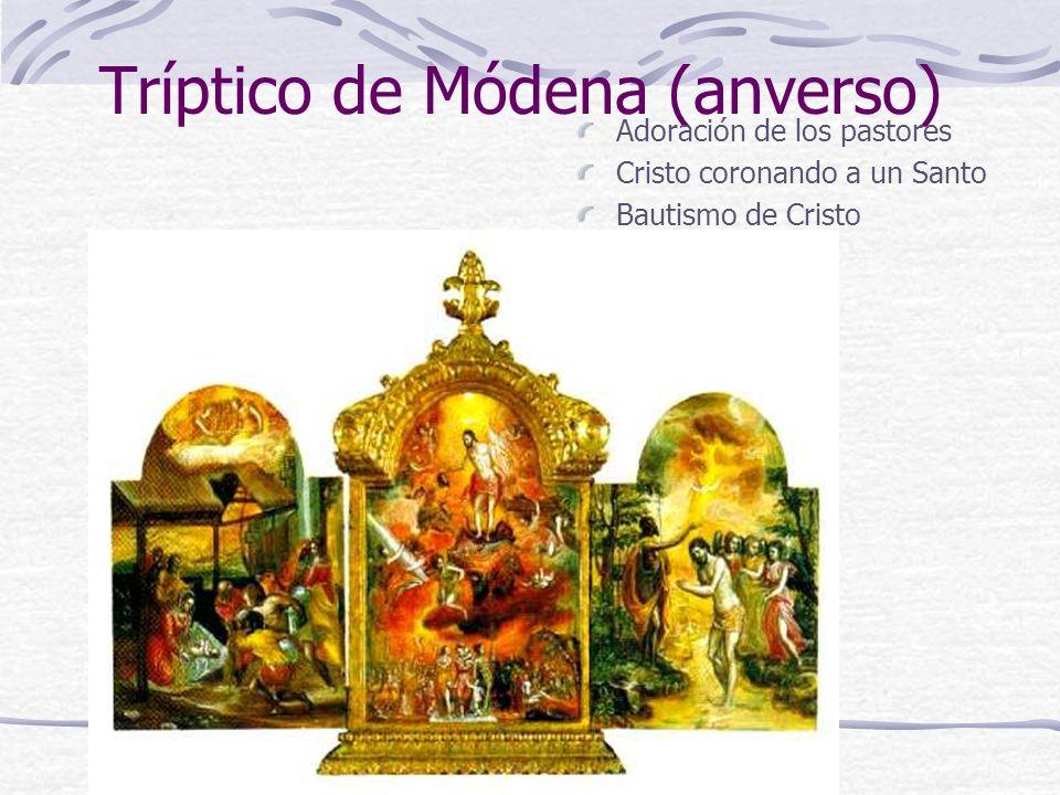 Tríptico de Módena (anverso) Adoración de los pastores Cristo coronando a un Santo Bautismo de Cristo