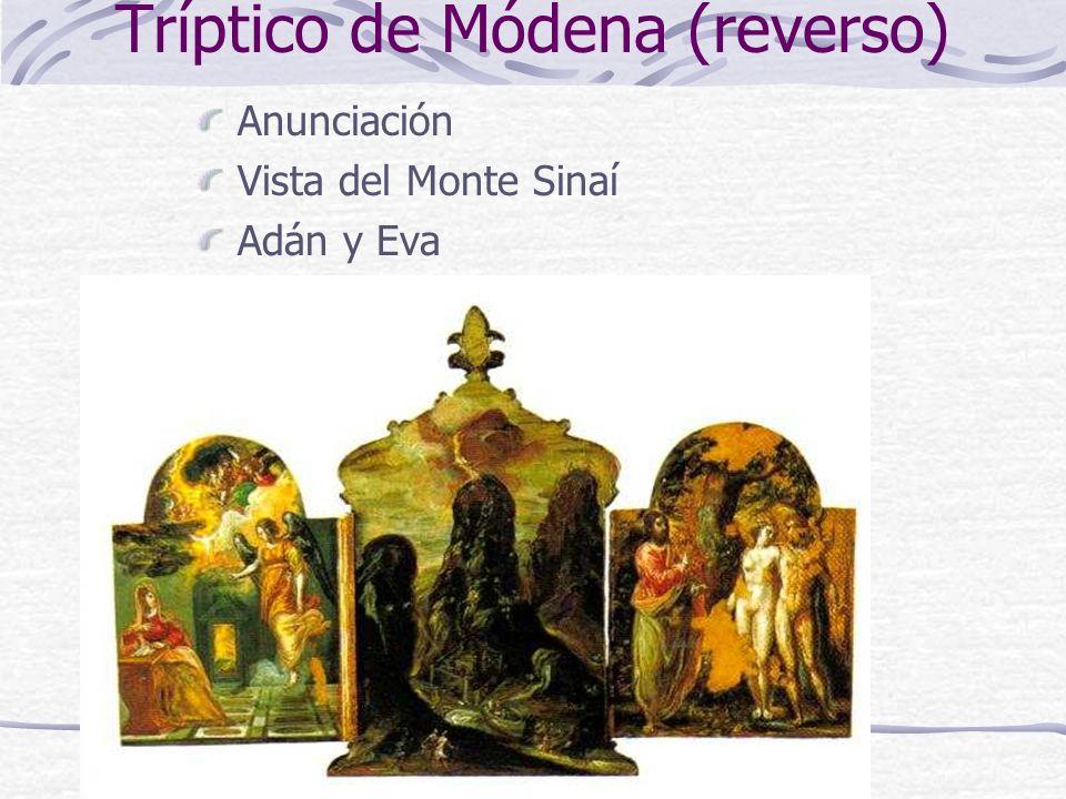Tríptico de Módena (reverso) Anunciación Vista del Monte Sinaí Adán y Eva