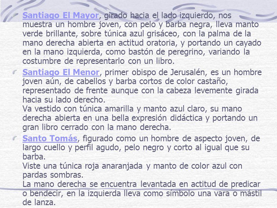 Santiago El MayorSantiago El Mayor, girado hacia el lado izquierdo, nos muestra un hombre joven, con pelo y barba negra, lleva manto verde brillante,