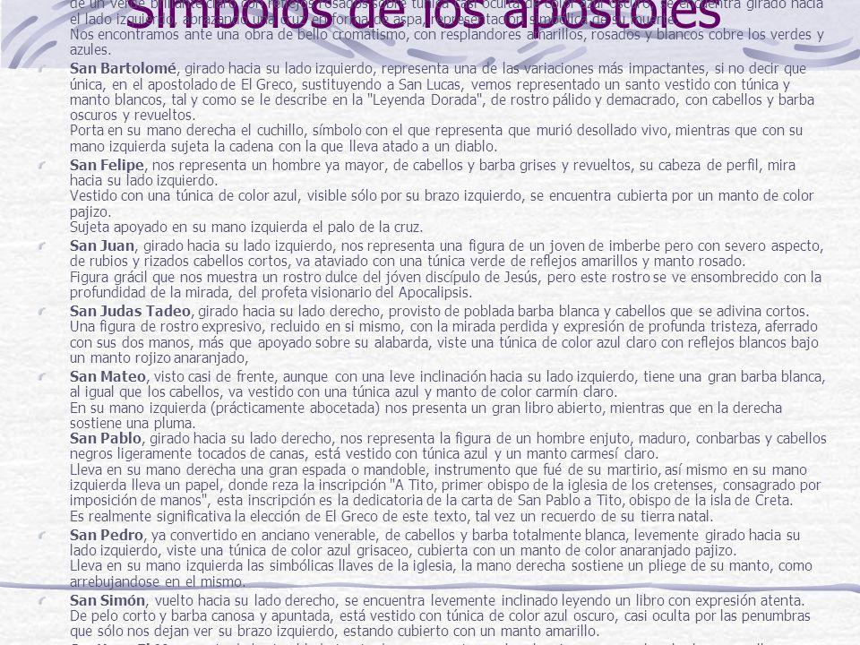 Símbolos de los apóstoles San Andrés, nos es representado como un hombre ya mayor, de barbas y cabellos plateados, vestido con un manto de un verde br