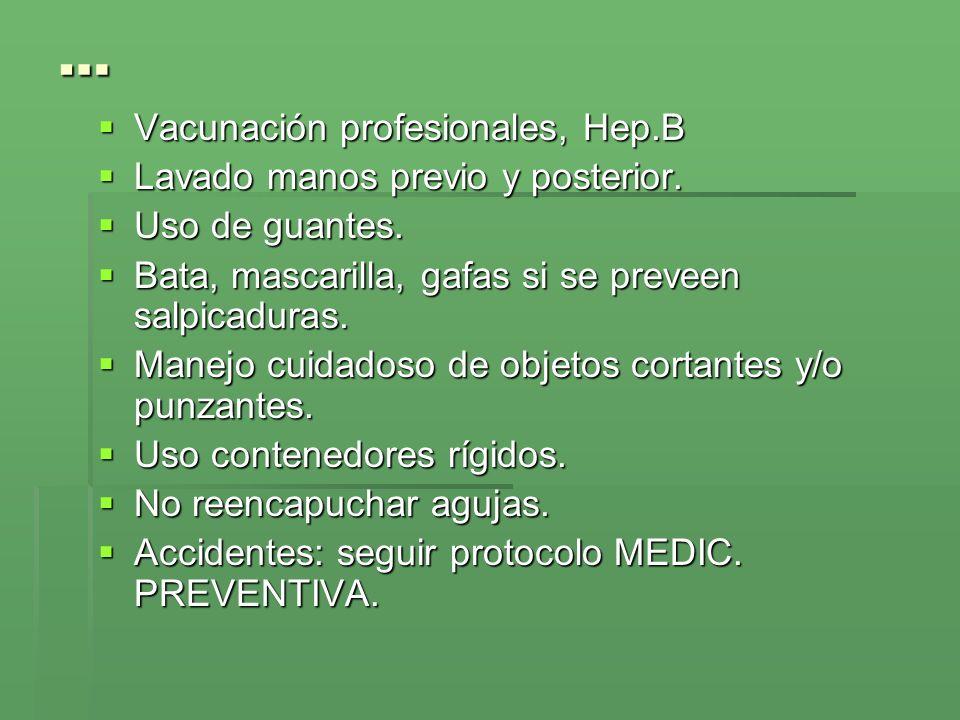 … Vacunación profesionales, Hep.B Vacunación profesionales, Hep.B Lavado manos previo y posterior. Lavado manos previo y posterior. Uso de guantes. Us