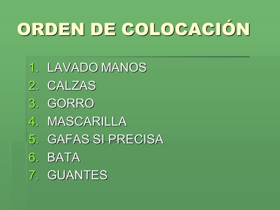 ORDEN DE COLOCACIÓN 1.LAVADO MANOS 2.CALZAS 3.GORRO 4.MASCARILLA 5.GAFAS SI PRECISA 6.BATA 7.GUANTES