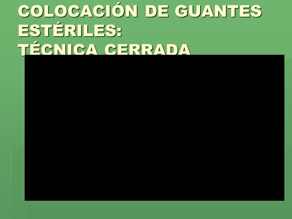 COLOCACIÓN DE GUANTES ESTÉRILES: TÉCNICA CERRADA