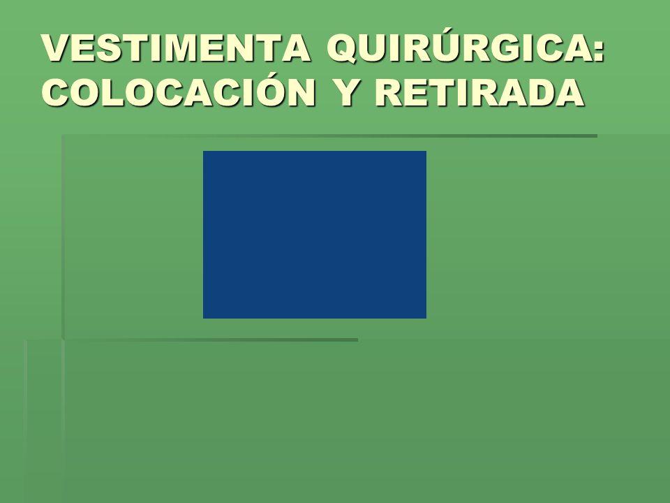 VESTIMENTA QUIRÚRGICA: COLOCACIÓN Y RETIRADA