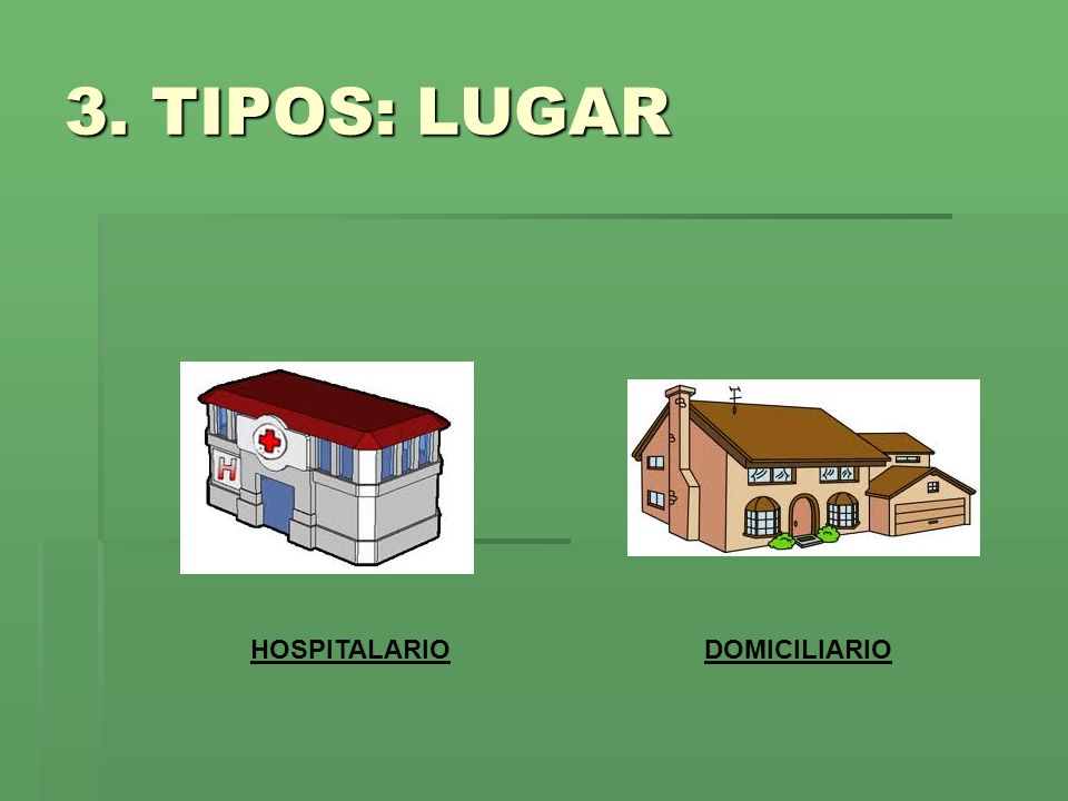3. TIPOS: LUGAR HOSPITALARIODOMICILIARIO