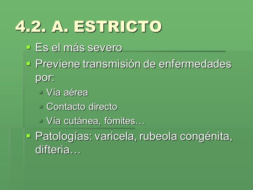 4.2. A. ESTRICTO Es el más severo Es el más severo Previene transmisión de enfermedades por: Previene transmisión de enfermedades por: Vía aérea Vía a