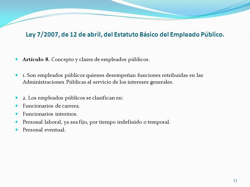 Ley 7/2007, de 12 de abril, del Estatuto Básico del Empleado Público. Artículo 8. Concepto y clases de empleados públicos. 1. Son empleados públicos q