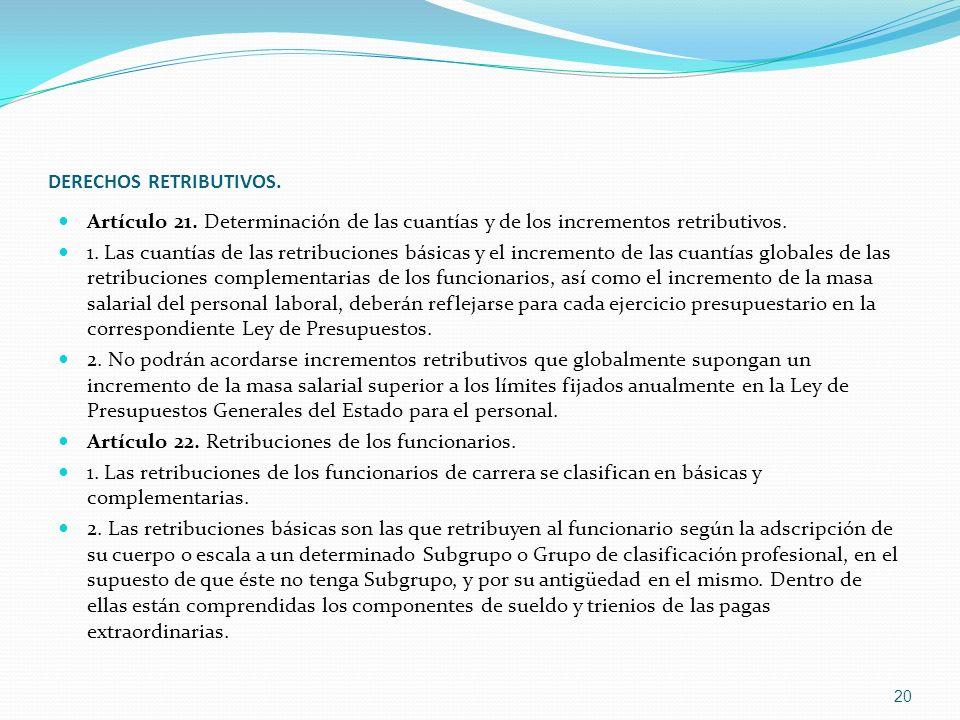 DERECHOS RETRIBUTIVOS. Artículo 21. Determinación de las cuantías y de los incrementos retributivos. 1. Las cuantías de las retribuciones básicas y el
