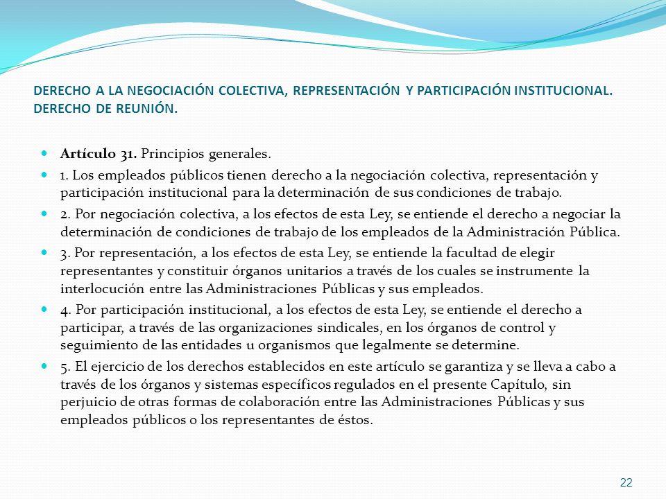 DERECHO A LA NEGOCIACIÓN COLECTIVA, REPRESENTACIÓN Y PARTICIPACIÓN INSTITUCIONAL. DERECHO DE REUNIÓN. Artículo 31. Principios generales. 1. Los emplea