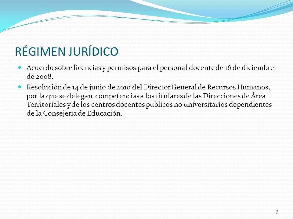 RÉGIMEN JURÍDICO Acuerdo sobre licencias y permisos para el personal docente de 16 de diciembre de 2008. Resolución de 14 de junio de 2010 del Directo